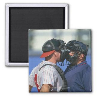 Baseball Catcher and Umpire Arguing Magnet
