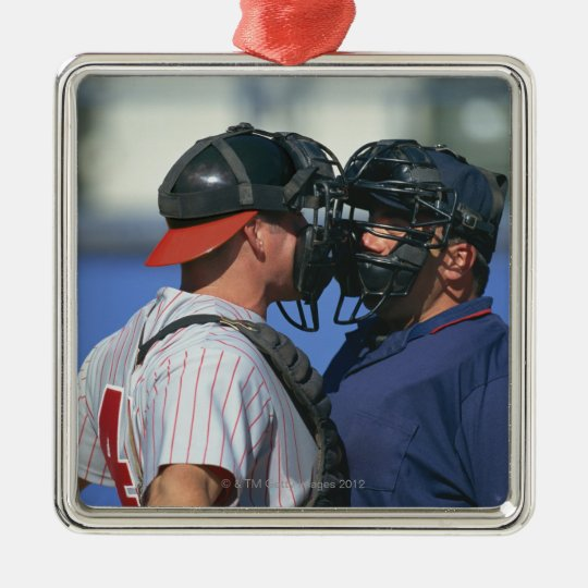 Baseball Catcher and Umpire Arguing Metal Ornament