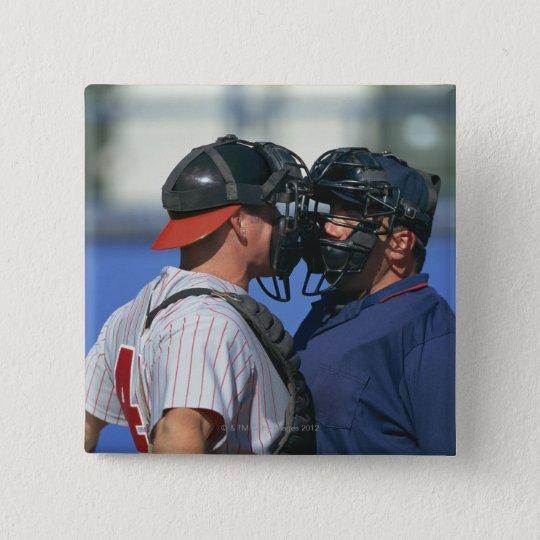 Baseball Catcher and Umpire Arguing Pinback Button