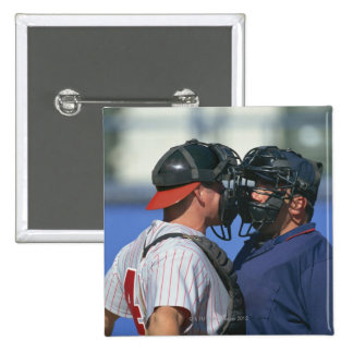 Baseball Catcher and Umpire Arguing Pinback Button