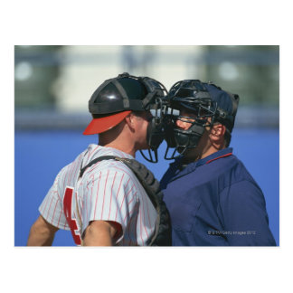 Baseball Catcher and Umpire Arguing Postcard
