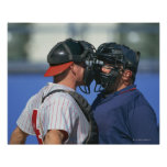 Baseball Catcher and Umpire Arguing Posters