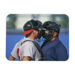 Baseball Catcher and Umpire Arguing Rectangle Magnets