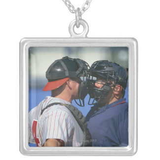Baseball Catcher and Umpire Arguing Silver Plated Necklace