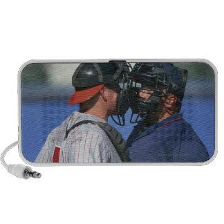 Baseball Catcher and Umpire Arguing Travelling Speaker