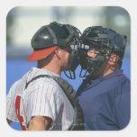 Baseball Catcher and Umpire Arguing Square Sticker
