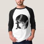 Baseball Catcher at Home Plate With a Grunge Ball T-shirt