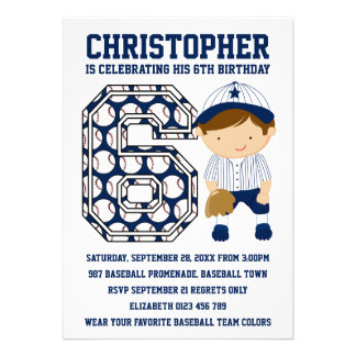 Baseball Catcher Blue White 6th Birthday Party Cards