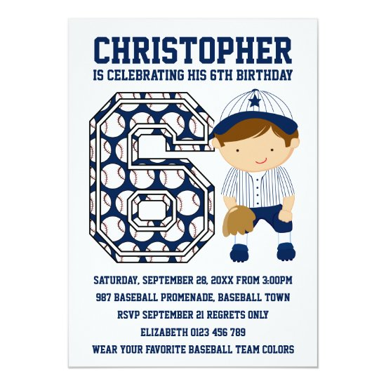 Baseball Catcher Blue White 6th Birthday Party Invitation