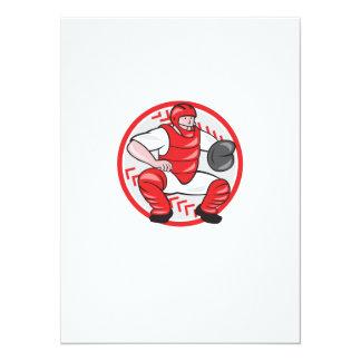 Baseball Catcher Catching Cartoon Personalized Invitations