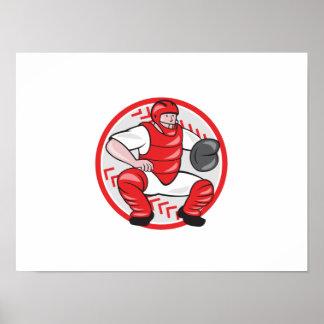 Baseball Catcher Catching Cartoon Print