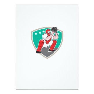 Baseball Catcher Catching Shield Cartoon Custom Announcements