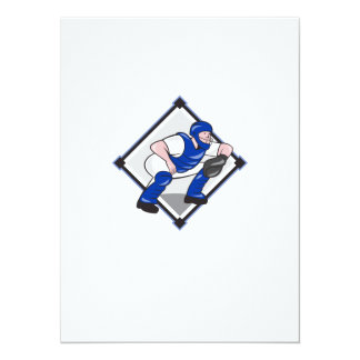Baseball Catcher Catching Side Cartoon Personalised Announcements
