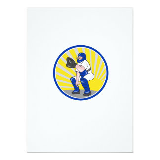 Baseball Catcher Catching Side Circle Personalised Announcements
