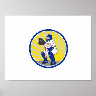 Baseball Catcher Catching Side Circle Poster