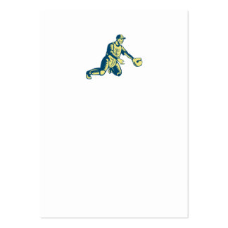 Baseball Catcher Catching Woodcut Large Business Card