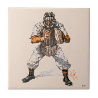 Baseball Catcher Ceramic Tile