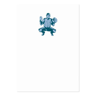 Baseball Catcher Gloves Woodcut Large Business Card