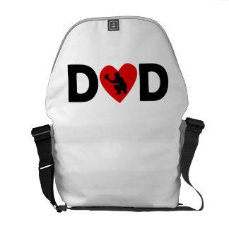 Baseball Catcher Heart Dad Courier Bag