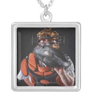 Baseball catcher holding ball in mitt silver plated necklace