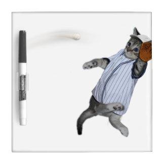 Baseball Catcher Kitten Dry-Erase Whiteboards