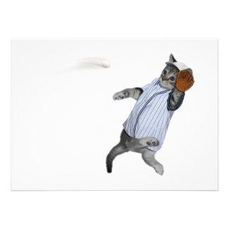 Baseball Catcher Kitten Personalized Invitation