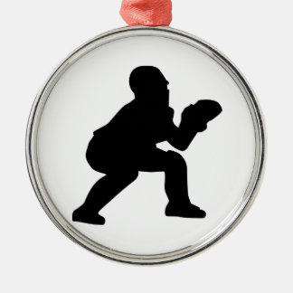 Baseball catcher metal ornament
