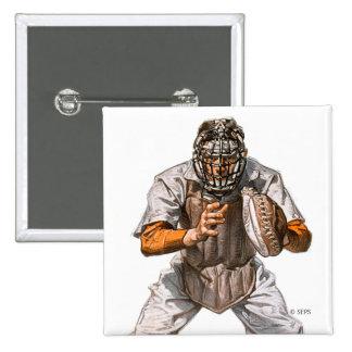 Baseball Catcher Pinback Button