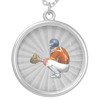 baseball catcher realistic vector illustration silver plated necklace