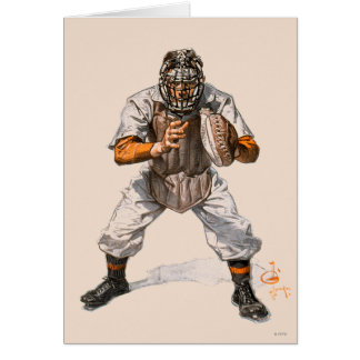 Baseball Catcher Stationery Note Card
