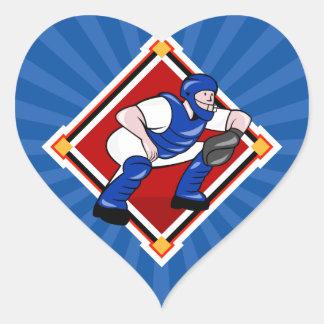 Baseball Catcher Heart Sticker
