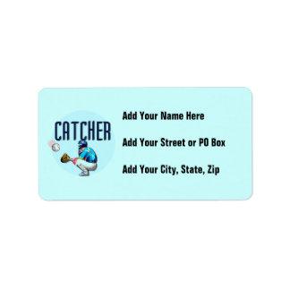 Baseball Catcher T-shirts and Gifts Address Label