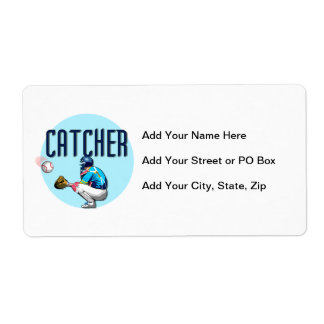 Baseball Catcher T-shirts and Gifts Shipping Label