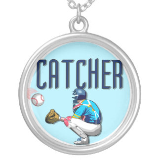 Baseball Catcher T-shirts and Gifts Silver Plated Necklace