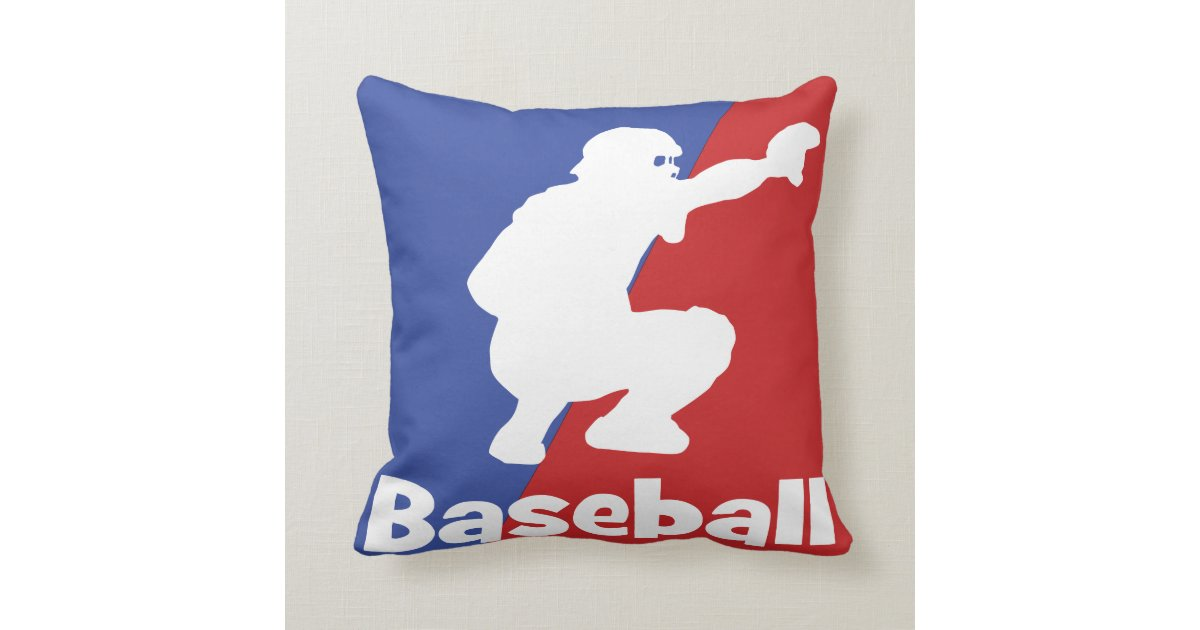 Baseball catcher throw pillow red and blue zazzle for Red and blue pillows