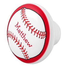 Baseball Ceramic Knob