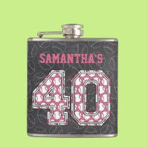 Baseball Chalkboard Pink 40th Birthday Hip Flask