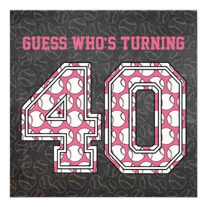 Baseball Chalkboard Pink 40th Birthday Party Custom Invitation