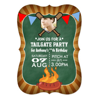 Baseball Chalkboard Retro Tailgate Party 5x7 Paper Invitation Card