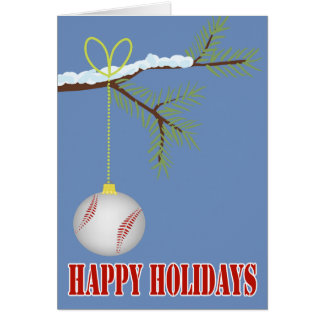 Baseball Christmas Bauble Greeting Card