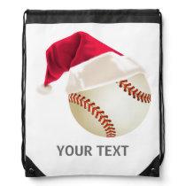 baseball christmas drawstring backpack
