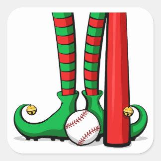 Baseball Christmas Elf Feet Square Sticker
