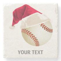 baseball christmas stone coaster