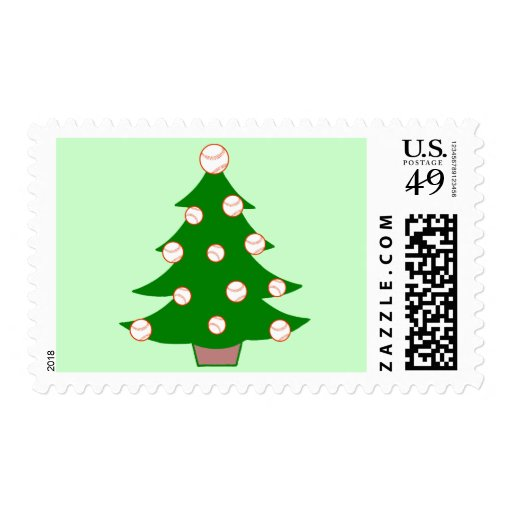 Baseball Christmas Tree Postage Stamps