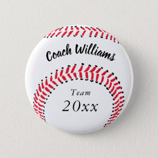 Baseball Coach Add Name, Team and Year Pinback Button