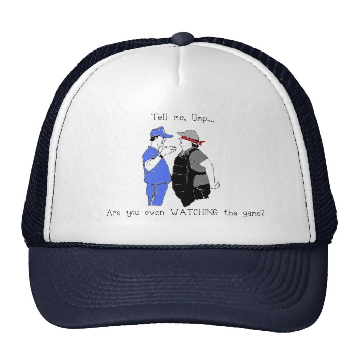 Baseball Coach and Umpire Face Off Trucker Hat