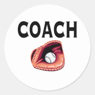 Baseball Coach (Ball and Glove) Classic Round Sticker
