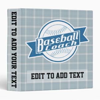 Baseball Coach Customizable Vinyl Binder