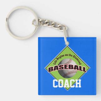 Baseball Coach Life Begins Keychain
