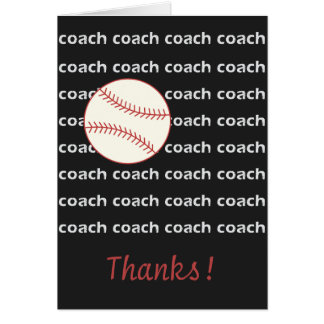 Baseball Coach Thanks Card Sports Themed Pattern